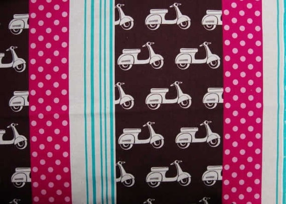 Echino Fabric- Scooter - Brown/Pink