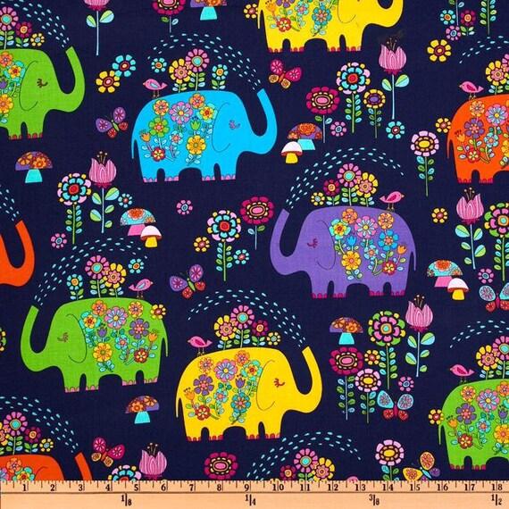 Timeless Treasures Fabric-  Elephant Showers - Navy - Novelty  Fabric