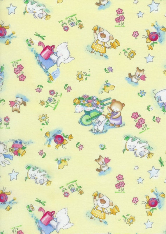 SALE - Timeless Treasures Fabric - Forest Friends Collection by Becky Kelly- Animal Friends- Yellow