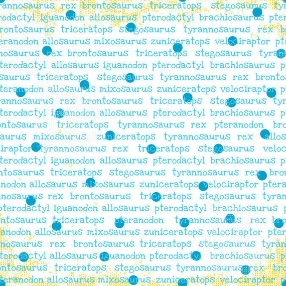 CLEARANCE  - Babysaurus Collection-  Dino Words- Turquoise by Sharon Kropp for Blend Fabrics-Kids Novelty Fabric
