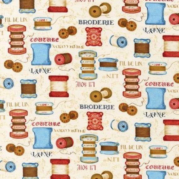 Antique Thread - Vintage Couturier Collection - Robert Kaufman Fabrics- Novelty Sewing Fabric