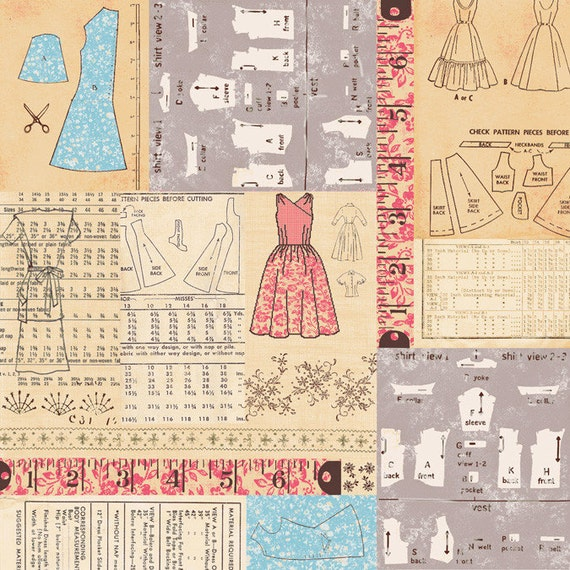 Homespun Chic- Sewing Patterns - Linen/Red- by Melody Ross for Blend Fabrics - Novelty Fabric
