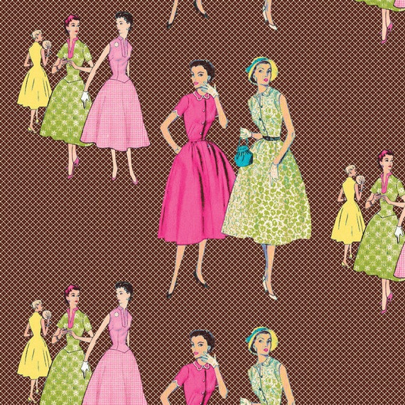 NEW- Homespun Chic- Vintage Ladies - Brown - by Melody Ross for Blend Fabrics - Novelty Fabric