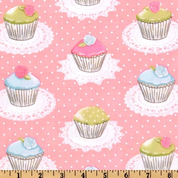 Michael Miller Fabric- Quaint Cupcakes - Pink- Sweets Novelty Fabric