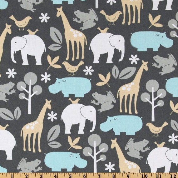 Michael Miller Fabric- Zoology in Sea- Children's Animal Print Fabric