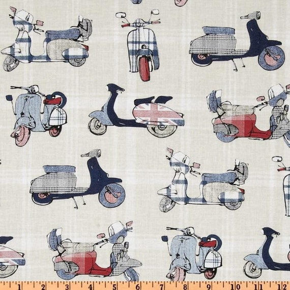 NEW - Michael Miller Fabric -The British Are Coming - Scooters - Indigo Red Collection - Novelty Fabric