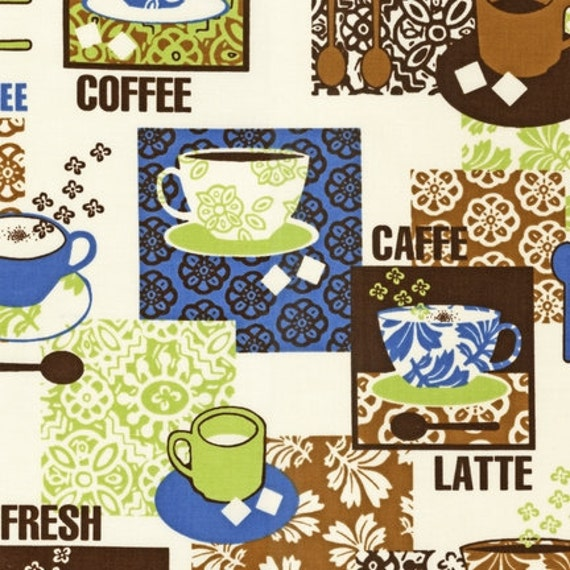 Coffee Espresso Latte Cafe Ivory Brown Kitchen Curtains: Metro Cafe Coffee Patchwork Espresso By By BelloBerryFabricShop