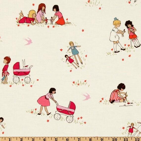 Michael Miller Fabric- Children at Play by Sarah Jane- Dolls in Cream- Children's Novelty Fabric