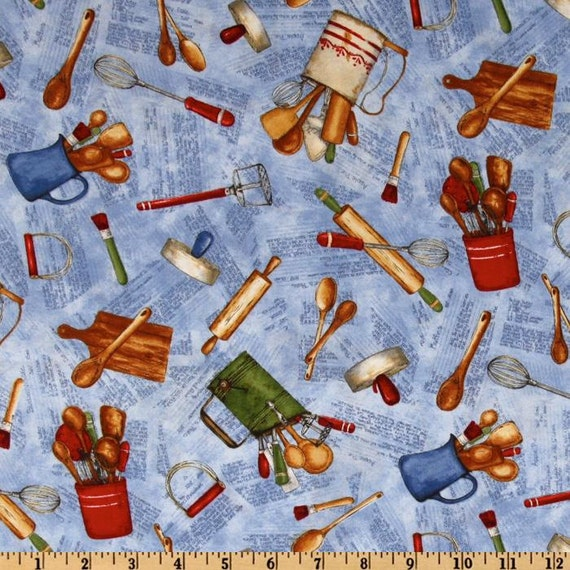 My Farmhouse Kitchen - Tossed Kitchen Utensils - Blue - by Cat Williams for South Sea Imports