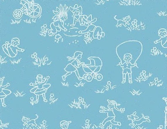 SALE - Let's Play - Line Drawings, Kids Playing  -  Blue - Benartex Fabric - Children's Retro Novelty Fabric