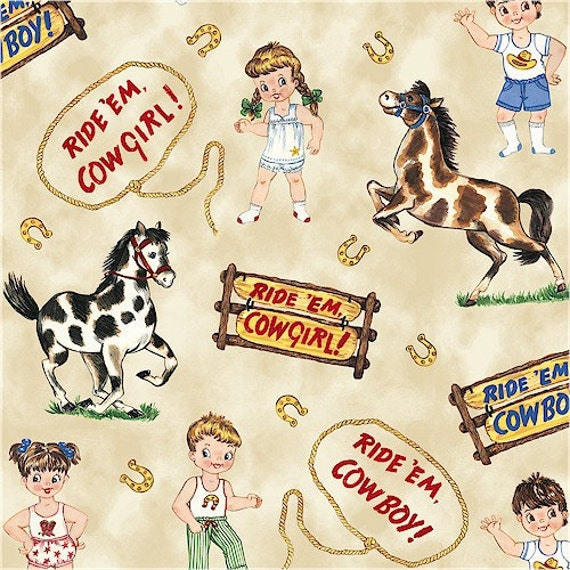 NEW - Paper Doll Cowboys - Ride 'Em Cowboy - Natural -by Whistler Studios for Windham Fabrics