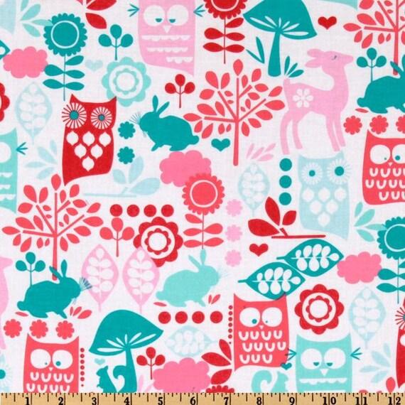 Michael Miller Fabric - Forest Life - Aqua - Children's Animal Print Fabric