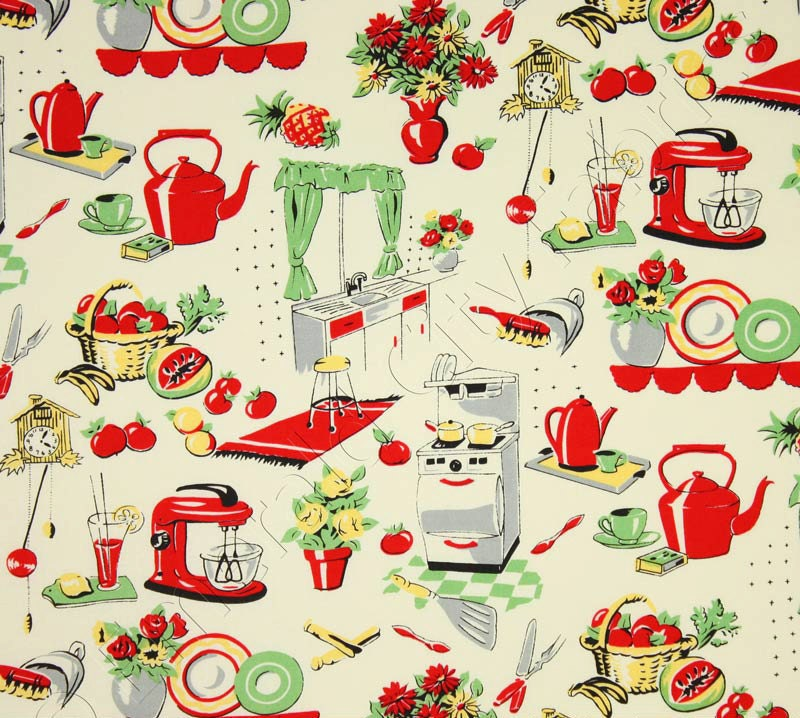 Michael Miller Fabric Fifties Kitchen Retro 50's Kitchen