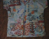 Size Medium Asian Print Scrub Top