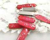 10 pcs Long Strip Translucent Pink Sparkling Shiny Glitter Enamel silver tone base connector links. 0.59 inch.