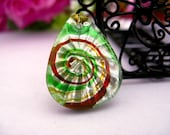 Dichroic Fused Teardrop Glass Pendants. Silver,Green,Orange,Yellow Color Swirl. 2 Pcs, 25x20mm