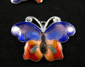 Cloisonne Enamel Charms - Charming Butterfly with Warm and Cold colors matching wings Cloisonne Enamel Work Pendants. 2 Pcs 25X33mm
