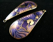 Fashion Charms - Water Drop Shaped Violet Camouflage Cloisonne Enamel Work Pendants. 2 Pcs 42X20mm
