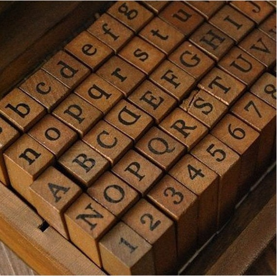 wooden rubber stamp box vintage print style alphabet number With antique letter stamps