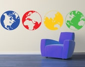 Globes wall decal LARGE size  - removable multiple globes decals - world map stickers