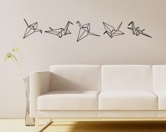 Origami Crane Vinyl Wall Decals