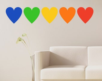 Rainbow hearts wall decal- set of five multicolor hearts