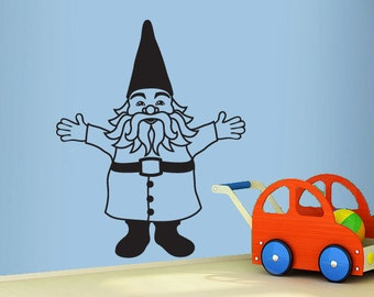 gnome wall decal- large size garden gnome wall sticker- fun kids room decal