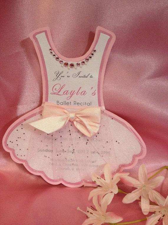 Large Ballerina Tutu Birthday Invite Or Ballet Recital