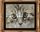 CAT - Vintage Dictionary Print Beautiful Black and White Stripy Cat Eyes Portrait on Old Dictionary Page Kitten Pet to Frame