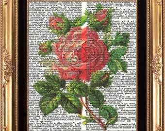 Rose Vintage Dictionary Page Art Print to Frame Beautiful Red Pink Antique Rose Digital Image Printed on Old Book Page Home Interior Decor