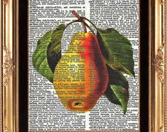 ANTIQUE PEAR - Art Print on Vintage Dictionary Page Beautiful Detailed Botanical Fruit Print Home Decoration Wall Hanging