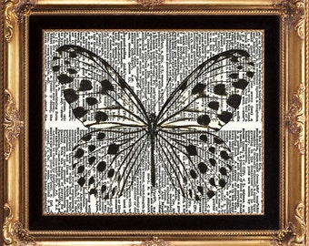 Butterfly Vintage Dictionary Print Beautiful Spotted Butterfly Black and White Picture to Frame Home Room Wall Decor Pretty Large Modern
