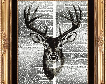 Antique Deer Print Vintage Dictionary Beautiful Large Black and White Illustration on Old Book Page Forest Winter Christmas Decor Gift