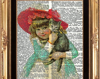 Little Girl with the Cat Vintage Dictionary Print Beautiful Victorial Child Red Hat Blue Dress Digital Image on Bookplate Wall Decoration