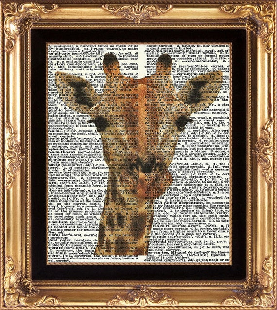 Giraffe Vintage Dictionary Page Print Beautiful Large Giraffe Portrait Face Animal Wall Art Office Child Room Game Room Playroom Home Decor