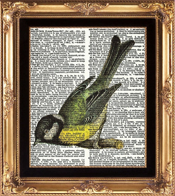 Bird Print Beautiful Pretty Cute Antique Bird Vintage Dictionary Page Art Wall Decoration Bedroom Dining Room Hallway Entrance Wall Decor