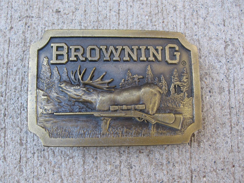 vintage 1970s brass browning belt buckle