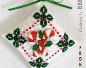 Needlepoint Mini Christmas Ornament - Candy Canes Button
