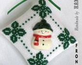 Needlepoint Mini Christmas Ornament - Snowman Button