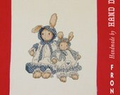 Country Bunnies in Blue Polka Dots Unframed and Finished Cross Stitch