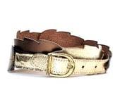 RESERVED For Qian Feng- Vintage 80s Metallic Leaf Belt S/M
