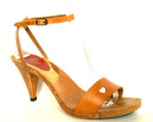 Vintage HEART Brown Leather Ankle Strap Sandal 10