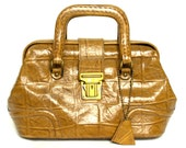 RESERVED- Vintage 60s Moc Crocodile Leather Handbag Vtg Brown Leather Purse Tan Leather Handbag
