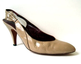 Vintage EVAN PICONE Taupe Leather Pumps 8 Vtg Brown Leather Heels Shoes 8