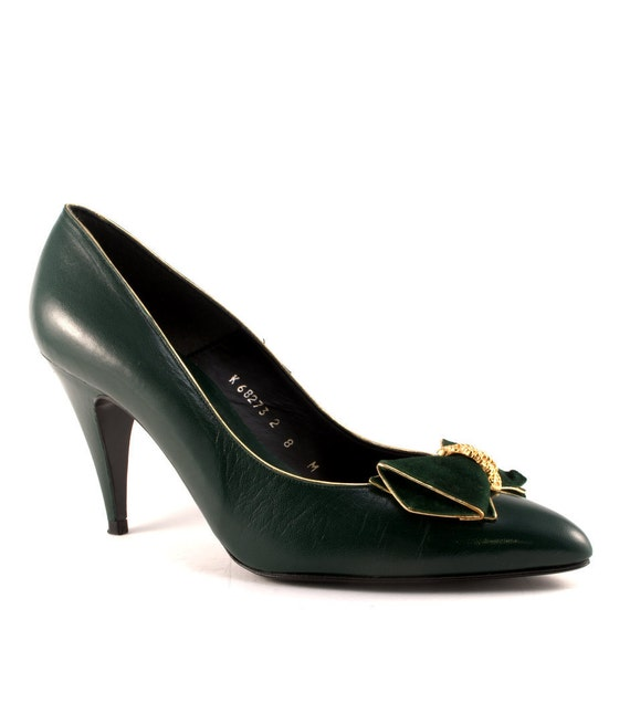 Vintage 80s CARESSA Bow Green Leather Pumps 8 Green Leather Heels 8