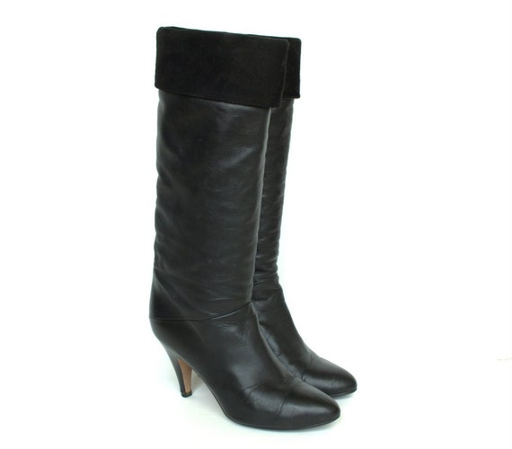 Vintage Black Tall Suede and Leather Heeled Boots 6.5