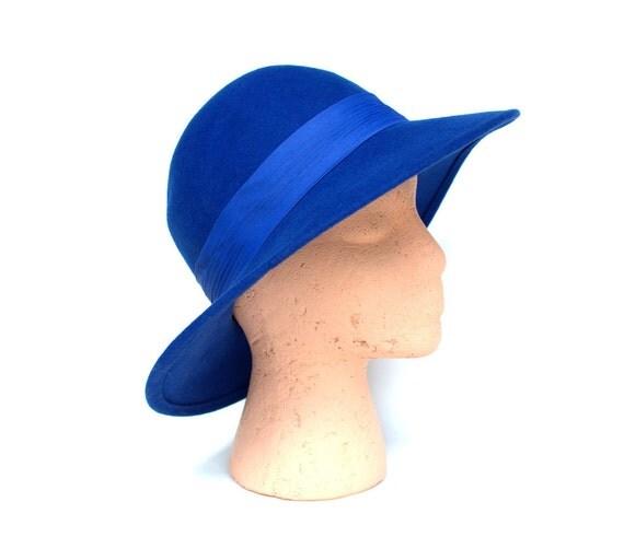 Vintage 50s Royal Blue Wide Brim Wool Hat