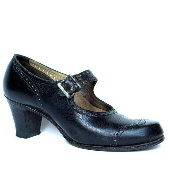 Vintage 40s Navy Leather Spectator Mary Janes 7