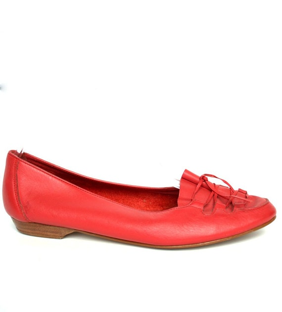 Vintage 80s Red Leather Oxford Flats 9.5