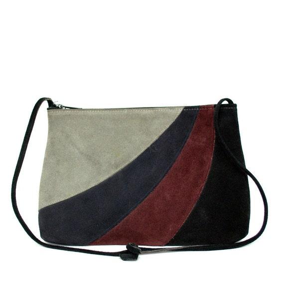 FREE SHIPPING Vintage Black Suede Shoulder Bag Vtg Black Leather Purse Striped Grey Burgundy